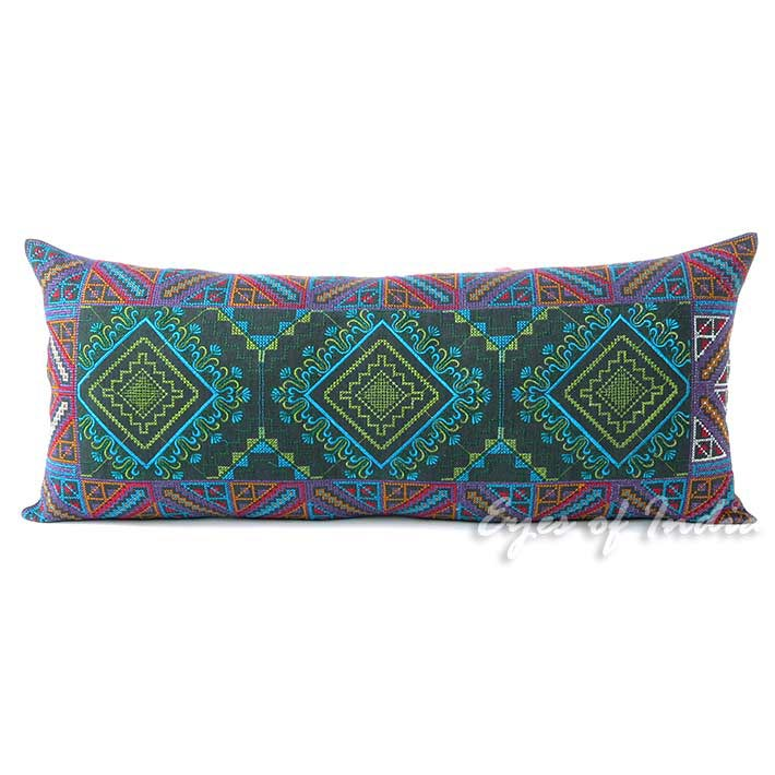 Green and Purple Embroidered Swati Colorful Bolster Long