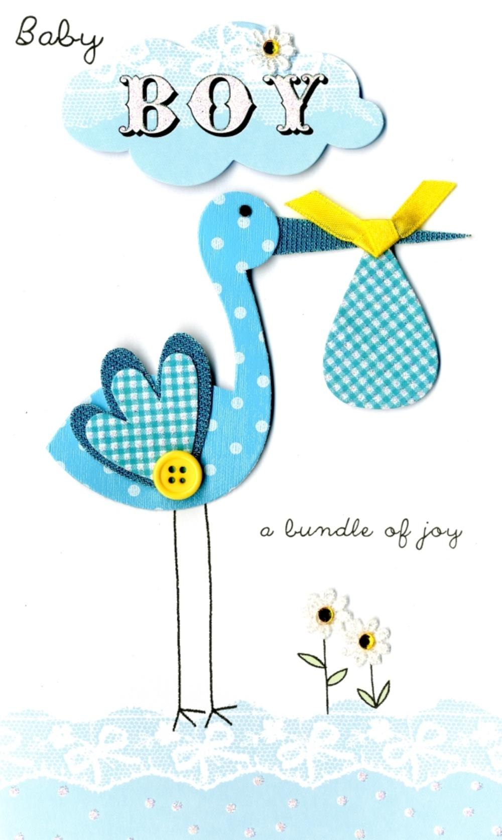New Baby Boy Stork Luxury Champagne Greeting Card Cards