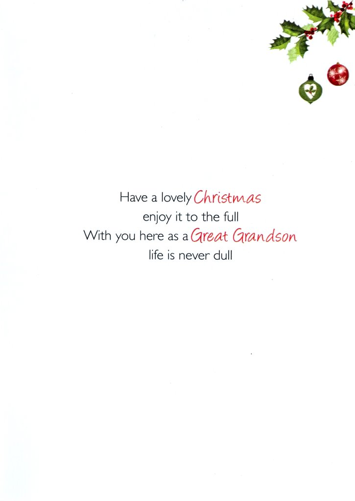 Special Great Grandson Christmas Greeting Card Traditional