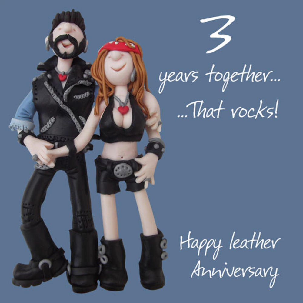 Happy 3rd Leather Anniversary Greeting Card One Lump or Two  Cards  Love Kates