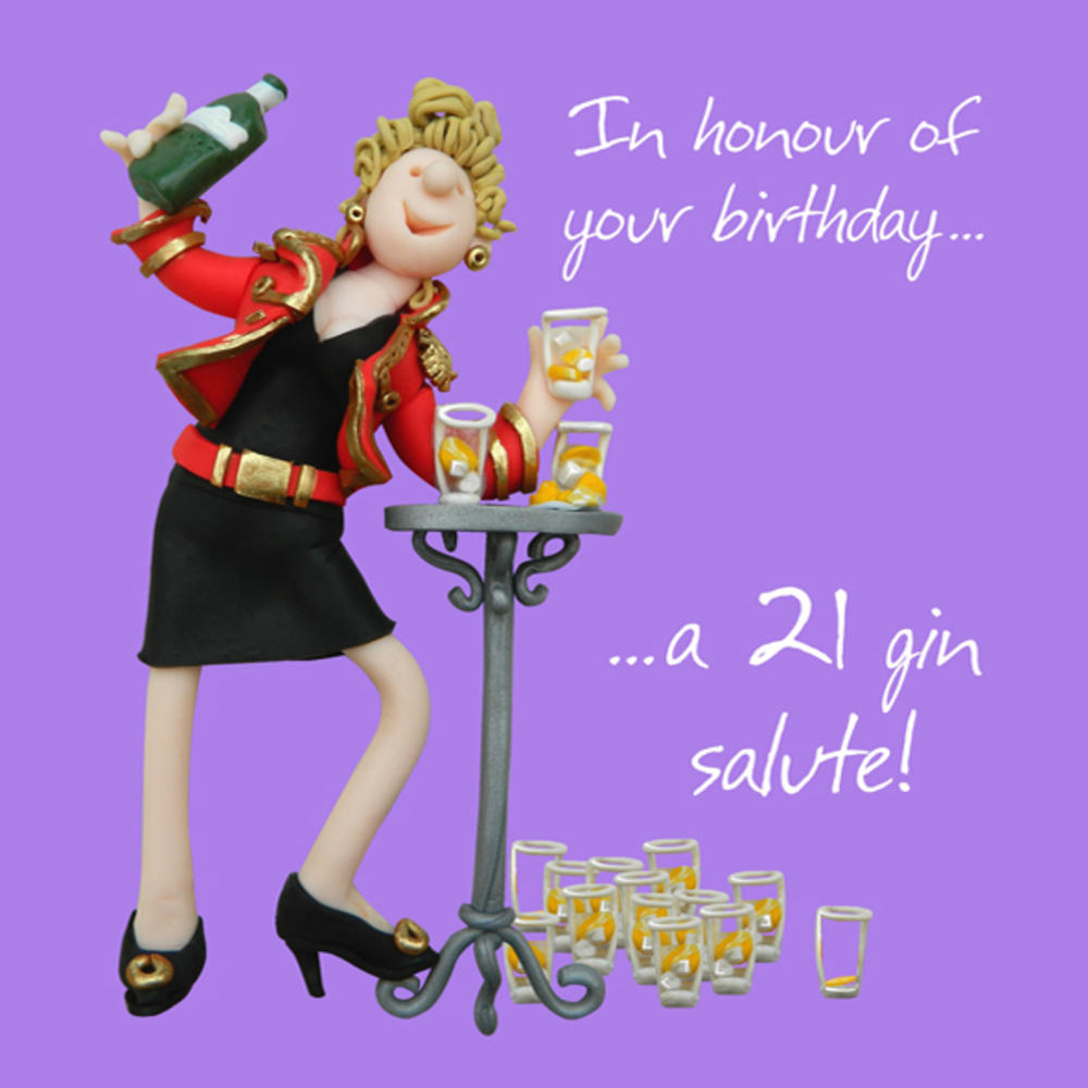 21 Gin Salute Happy Birthday Card One Lump Or Two Cards