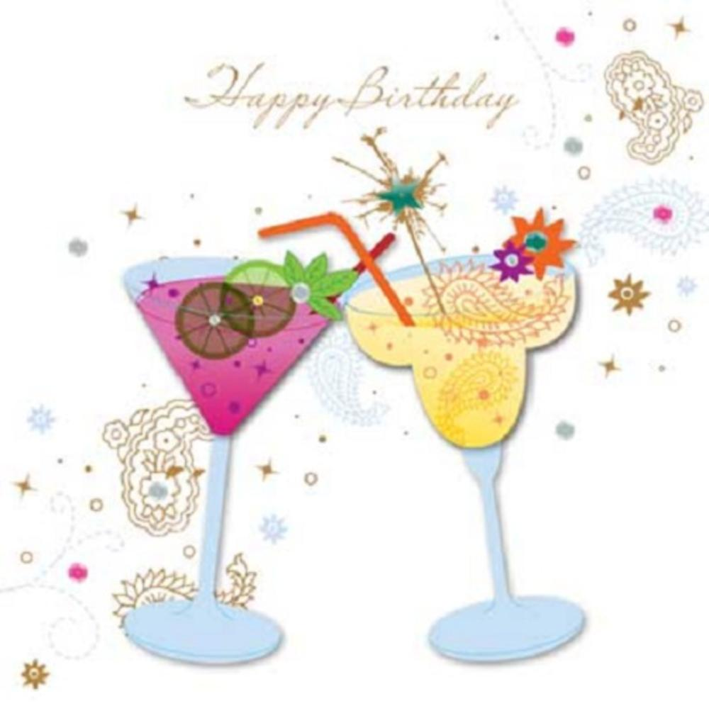 Handmade Cocktails Happy Birthday Greeting Card By Talking