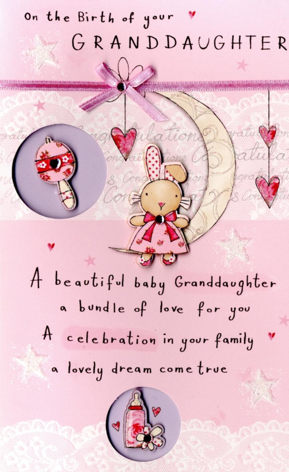 New Baby Granddaughter Embellished Greeting Card Cards