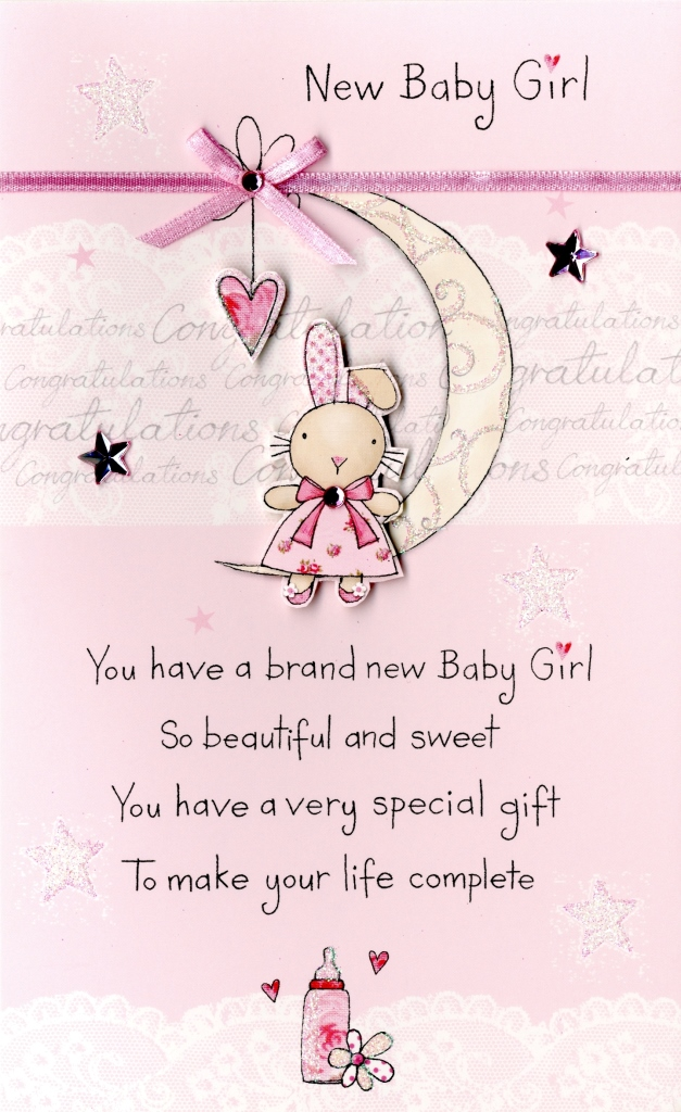 New Baby Girl Embellished Greeting Card Cards
