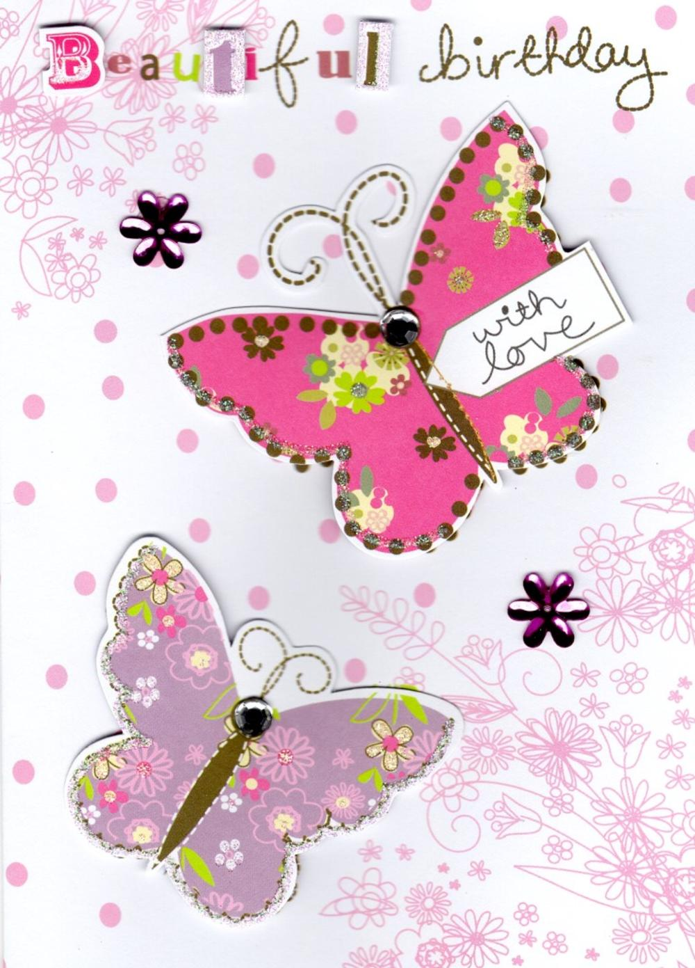 Beautiful Butterfly Handmade Birthday Card Cards