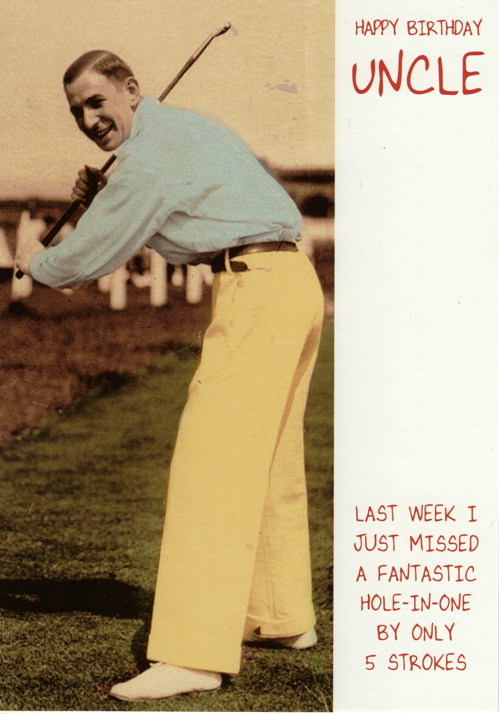 Happy Birthday Uncle Funny Golf Card Cards