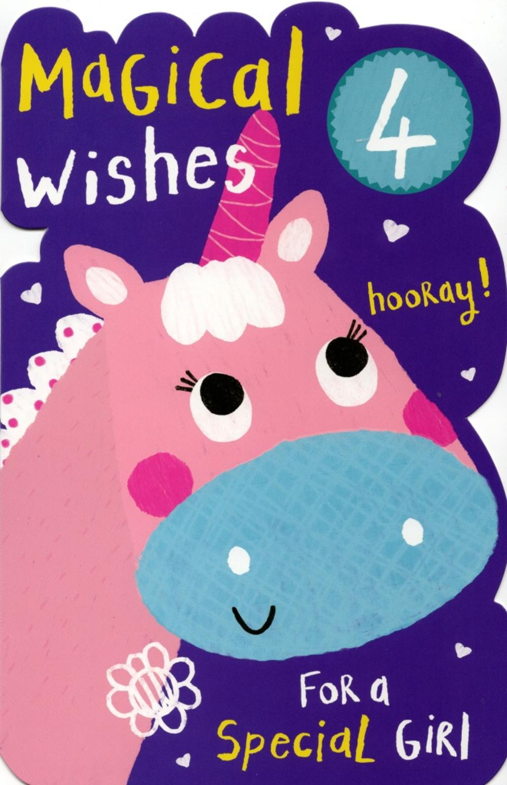 Girls Happy 4th Birthday Greeting Card With Badge Cards