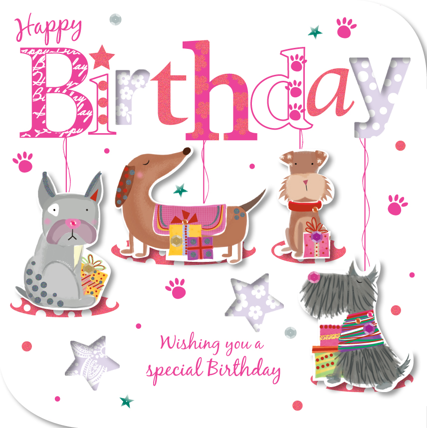 Handmade Dogs Happy Birthday Greeting Card Cards