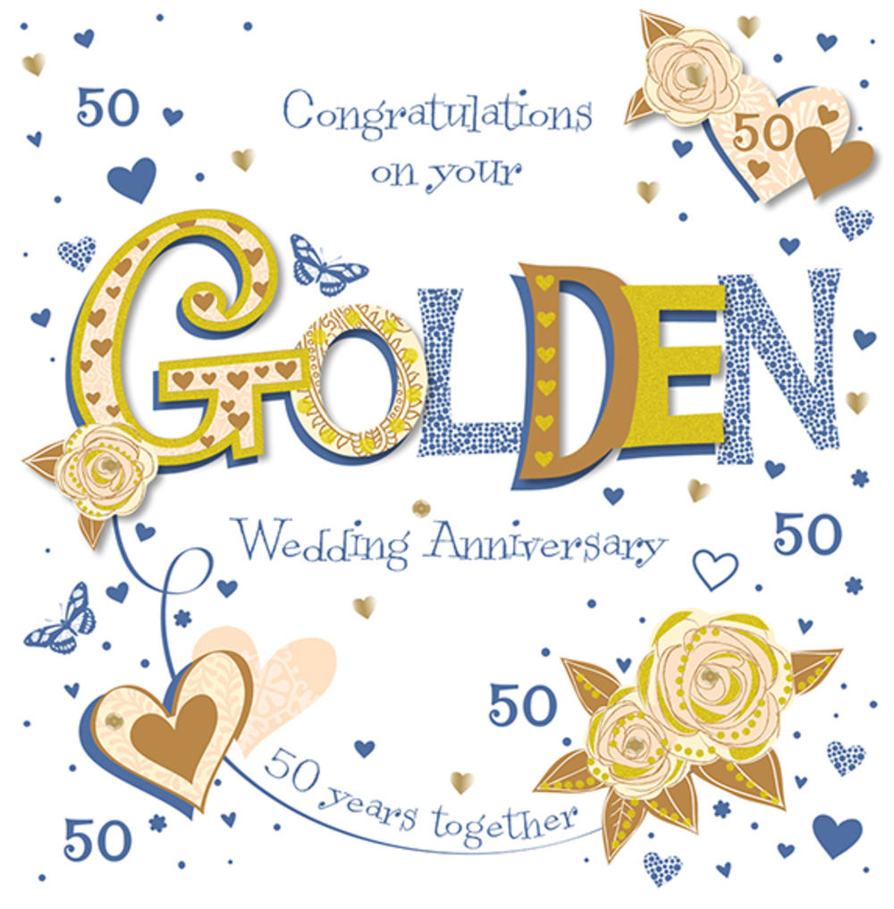 Handmade Golden 50th Wedding Anniversary Greeting Card  Cards