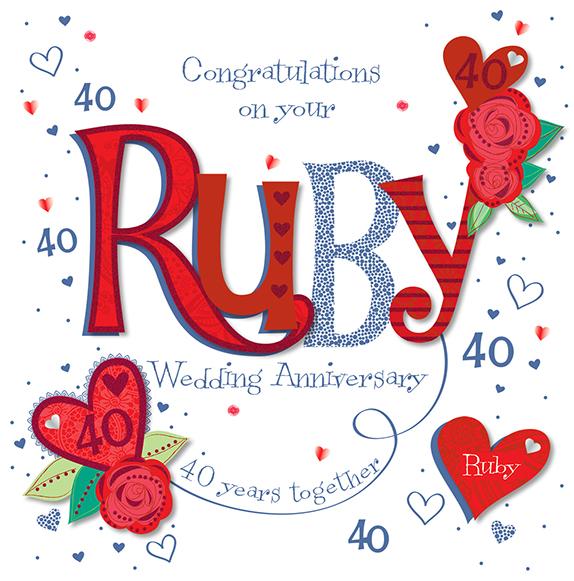 Handmade Ruby 40th Wedding Anniversary Greeting Card  Cards