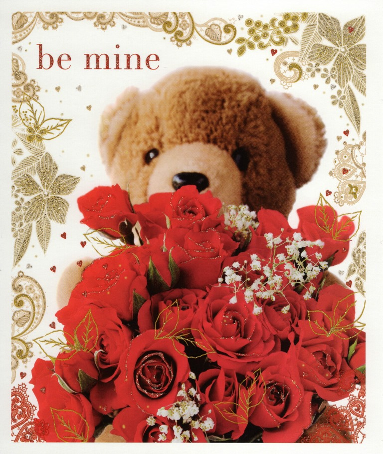 Be Mine Teddy Amp Roses Valentines Greeting Card Cards