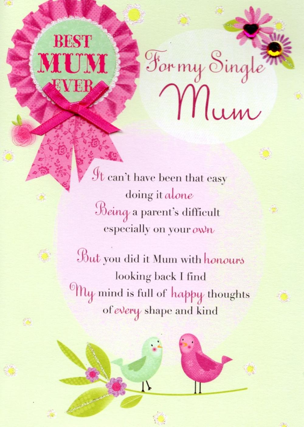 hight resolution of for my single mum mothers day card cards