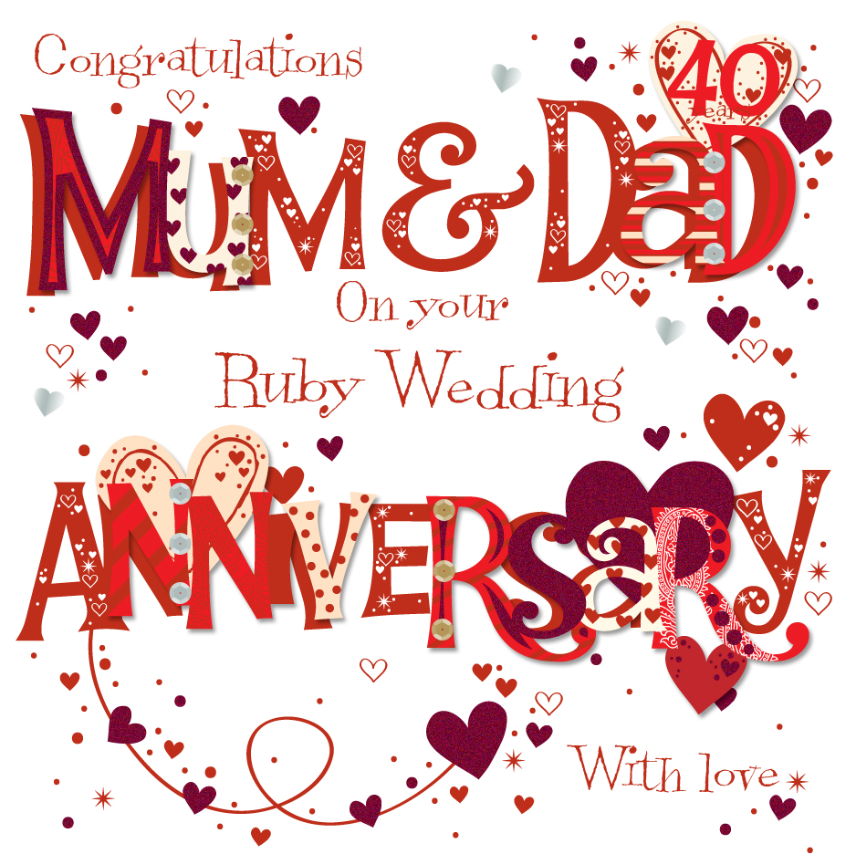 Mum  Dad Ruby 40th Wedding Anniversary Greeting Card By Talking Pictures Cards 5024474068453  eBay