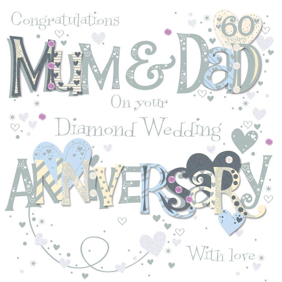 Mum  Dad Diamond 60th Wedding Anniversary Greeting Card