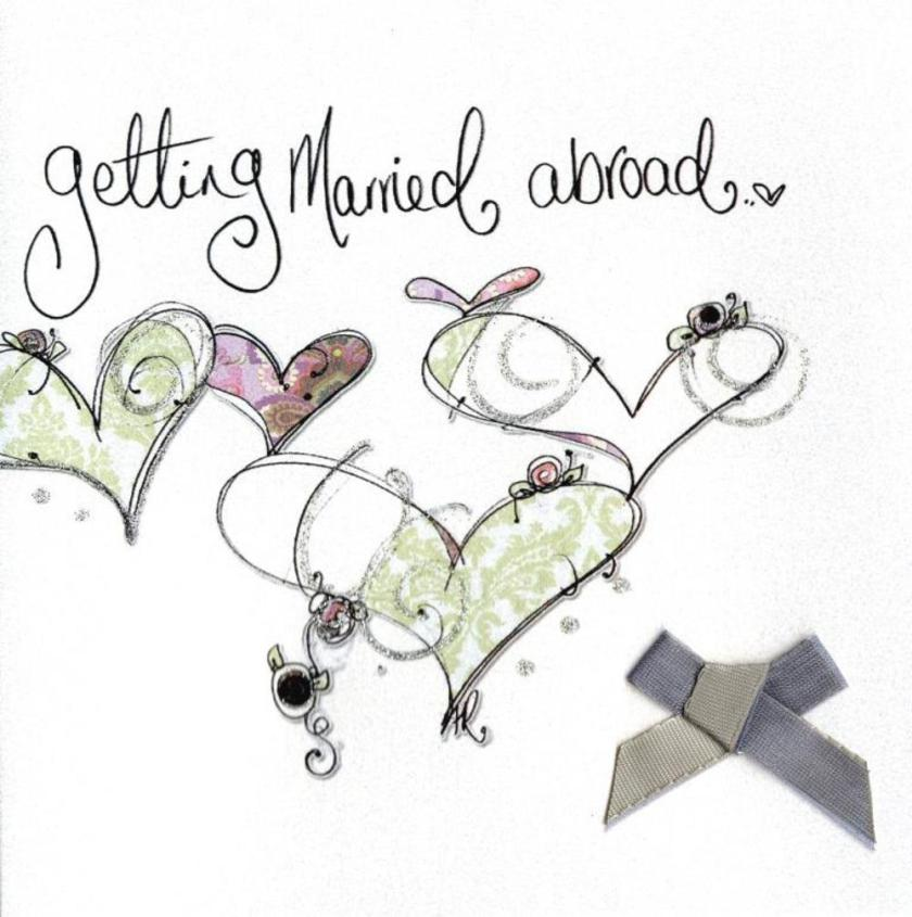 Getting Married Abroad Wedding Day Embellished Card