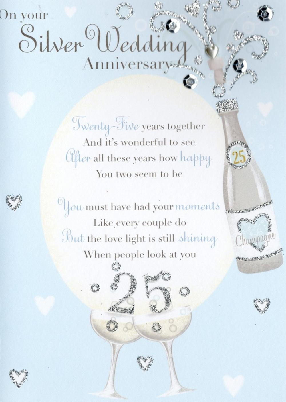 Silver 25th Anniversary Greeting Card  Cards