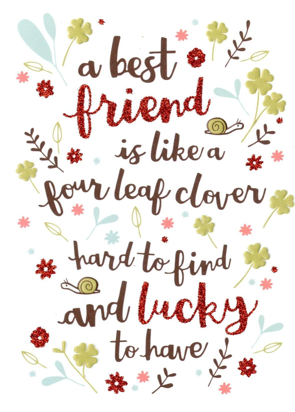 Best Friend Like Four Leaf Clover Birthday Card Cards