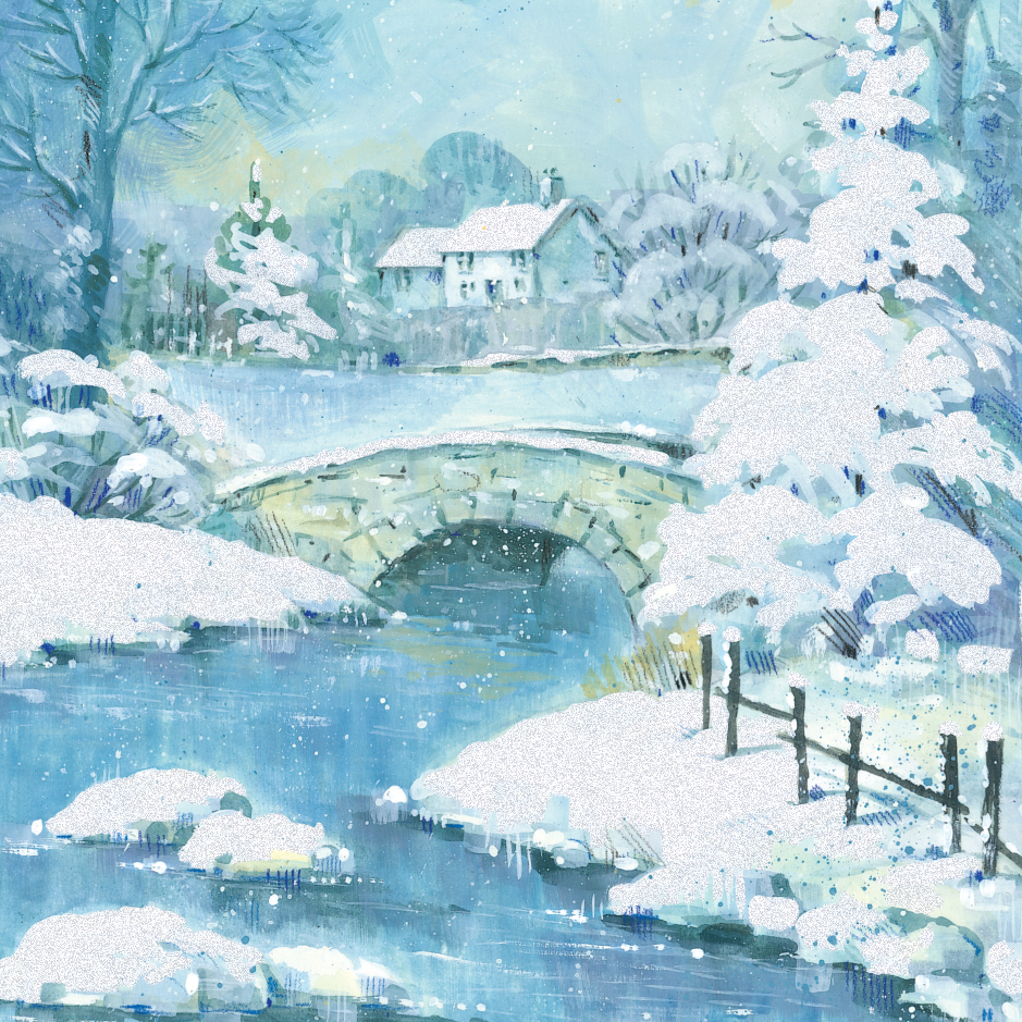 Pack Of 5 Snowy Scene Traditional Christmas Cards Ling