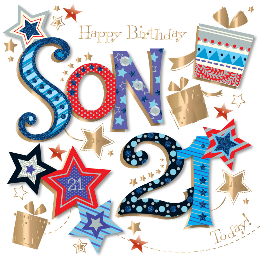 Son 21st Birthday Handmade Embellished Greeting Card Cards