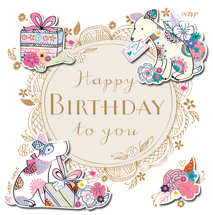Happy Birthday Dogs Handmade Embellished Greeting Card