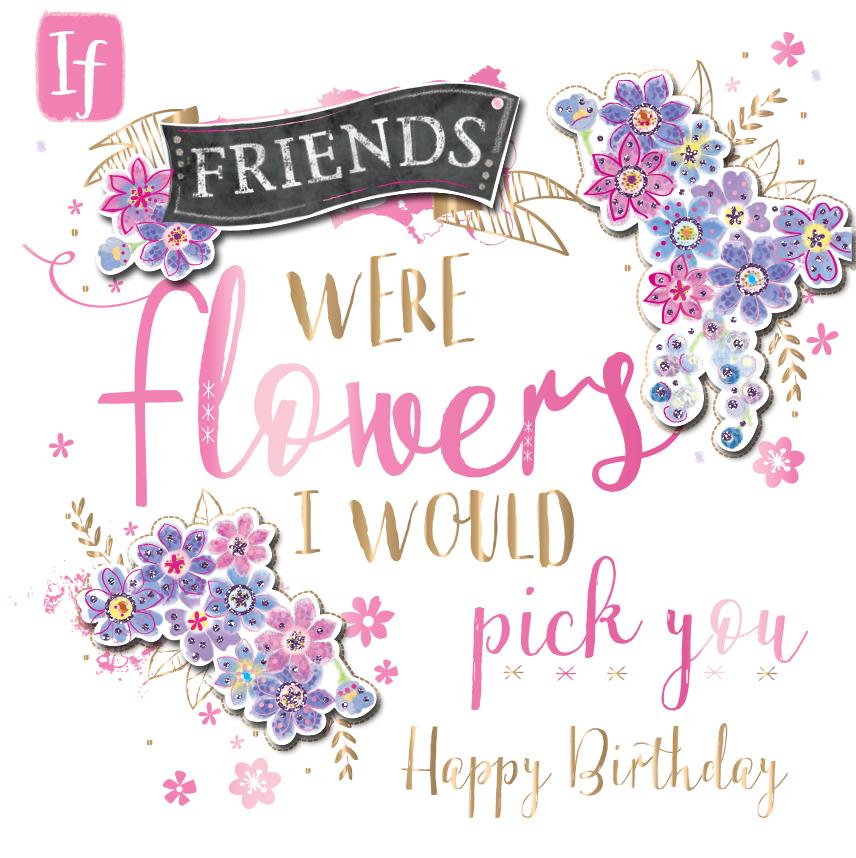 Happy Birthday Friend Handmade Embellished Greeting Card