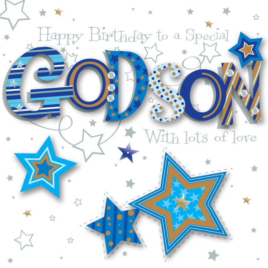 Godson Birthday Handmade Embellished Greeting Card Cards