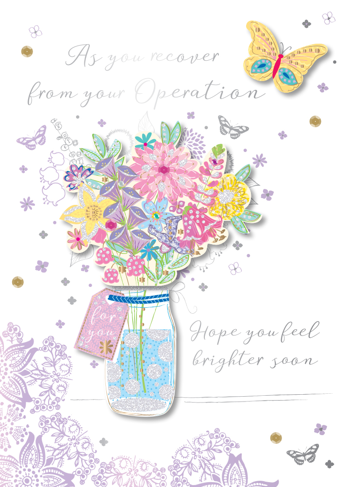 Get Well After Operation Embellished Greeting Card Cards
