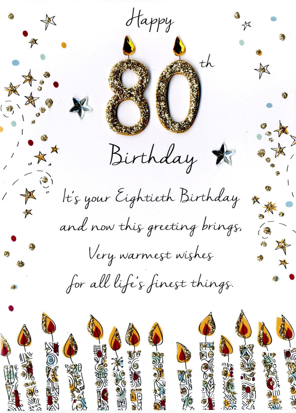 Male 80th Birthday Greeting Card Cards