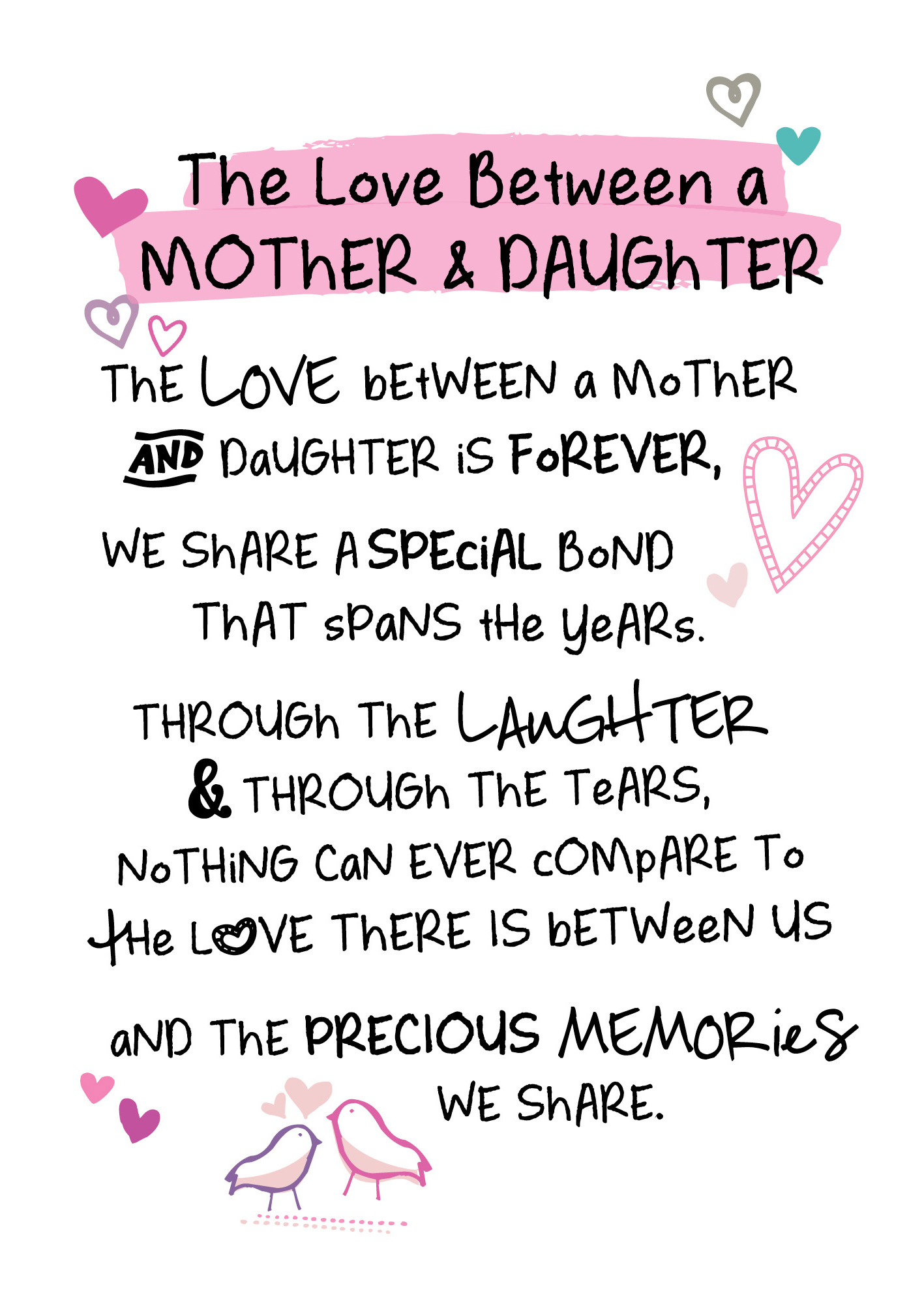 Mother & Daughter Love Inspired Words Greeting Card Blank