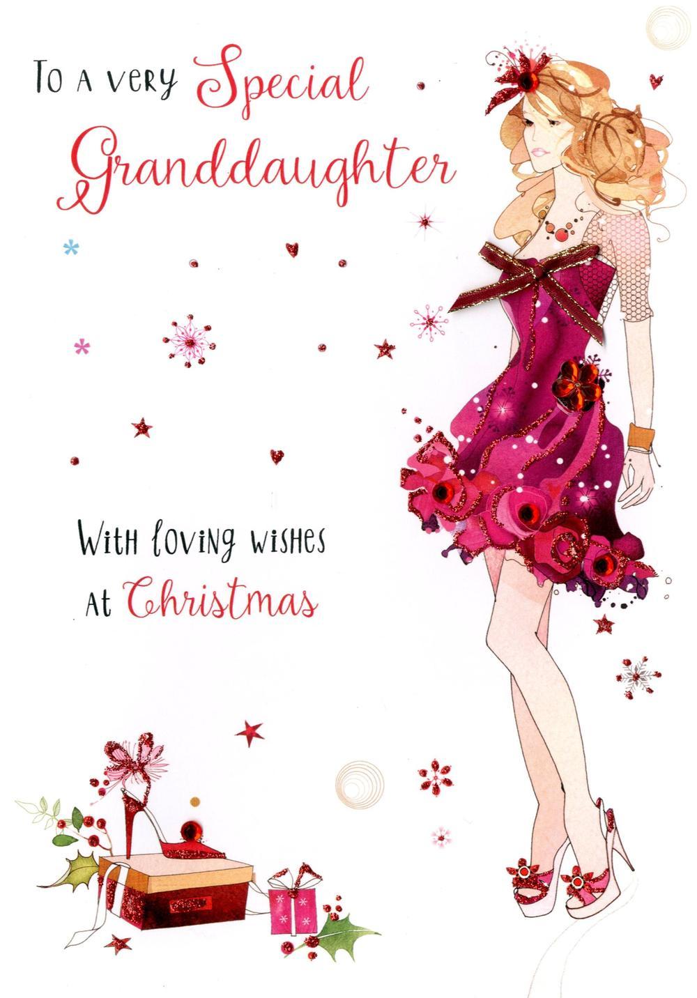 Granddaughter Embellished Christmas Card Cards