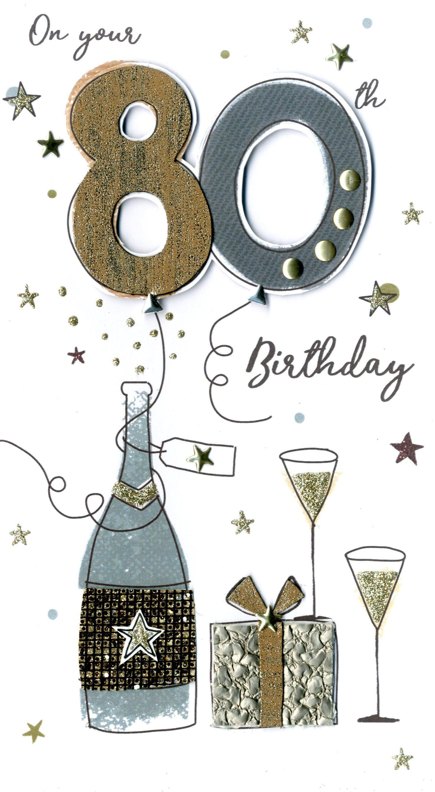 80th Birthday Greetings Images : birthday, greetings, images, Birthday, Greeting, Hand-Finished, Champagne, Range, Cards, 5034527291820