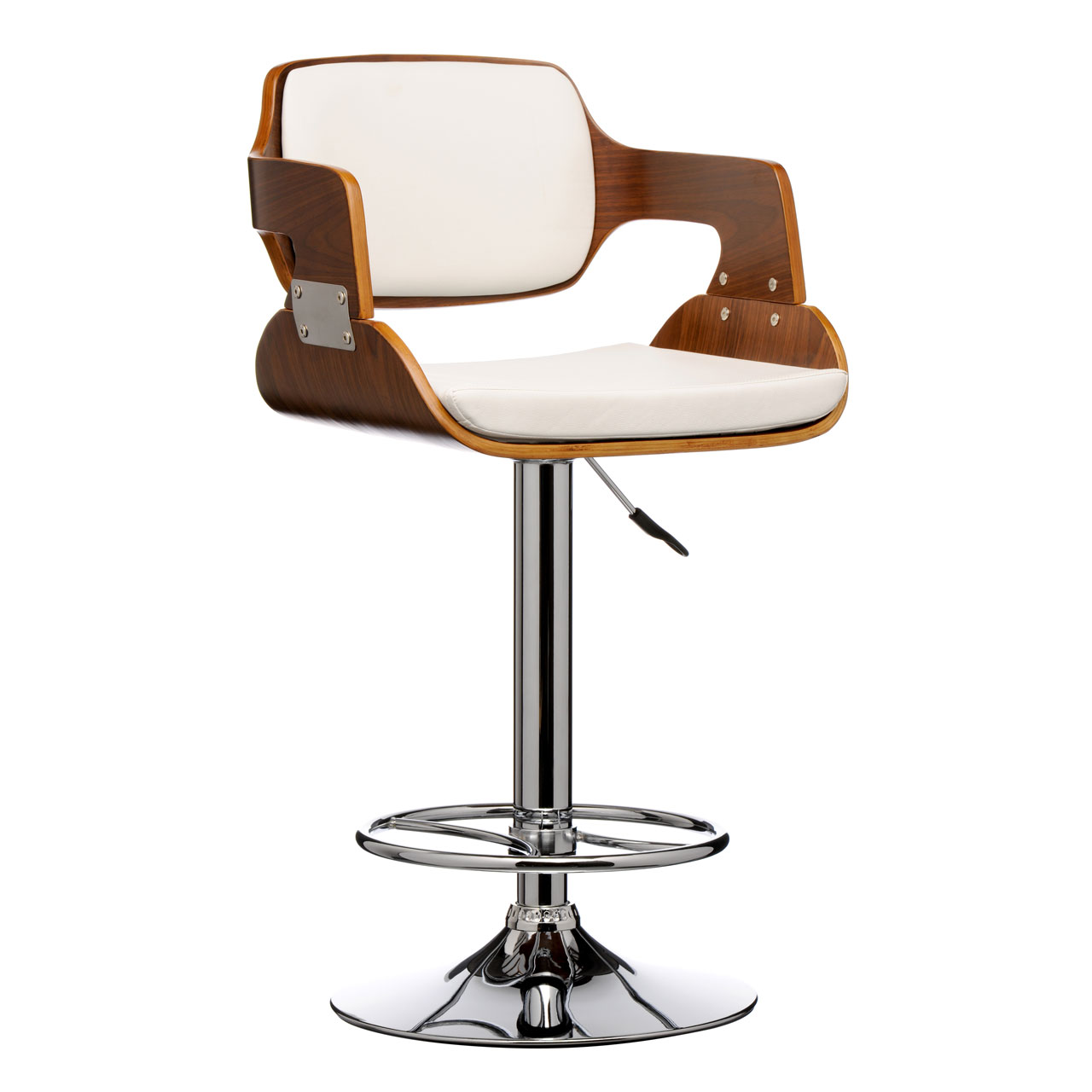 Bar Chair Stool Leather Effect Walnut Wood Bar Stool Comfortable