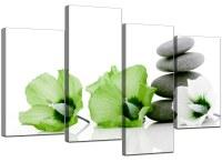 Green Flower Canvas Wall Art - buy 4 piece wall art no ...
