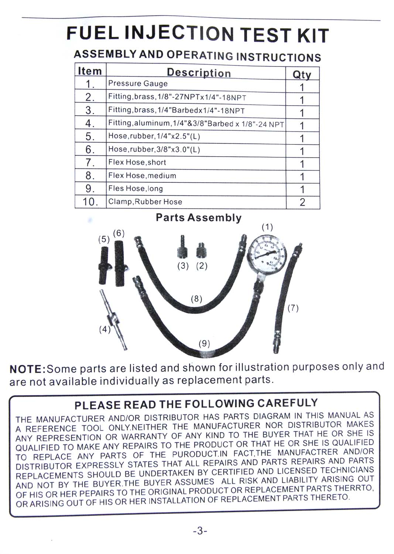Fuel Injection Pump Pressure Gauge Tester Gasoline Test Tools Tuner Car