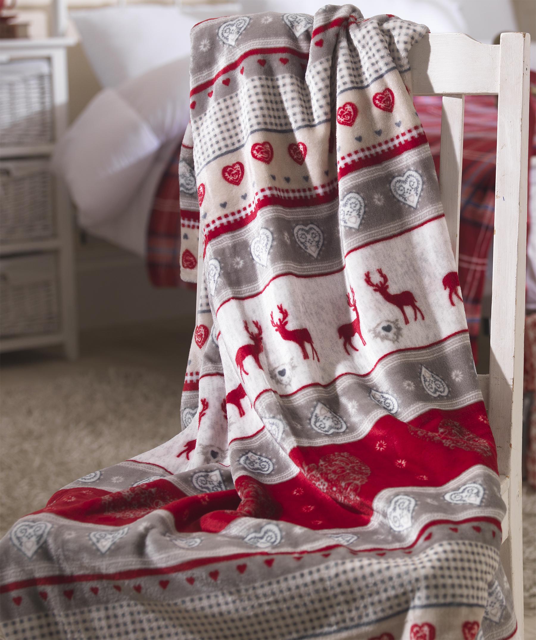 Red Stag Fleece Christmas Throw Warm Festive Winter Reindeer Blanket 5055952480955  eBay