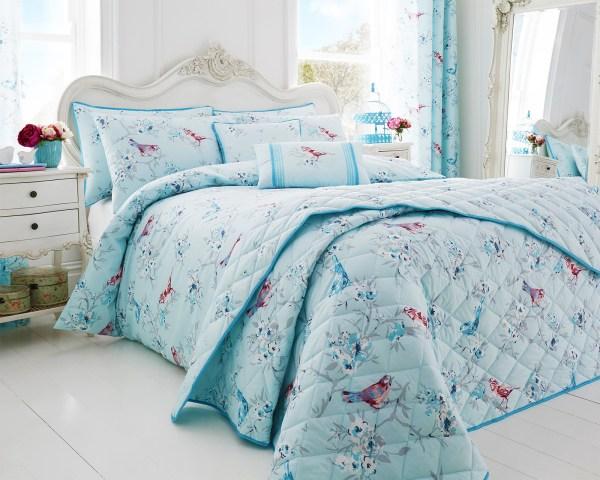 Cute Blue Bird Design Luxury Colourful Duvet Sets Matching