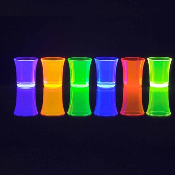 24 X Reusable Plastic Neon 35ml Shot Glasses Dishwasher