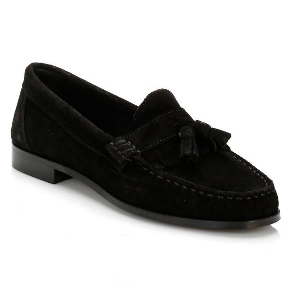 Tower Womens Black Suede Tassel Loafers Ladies Casual