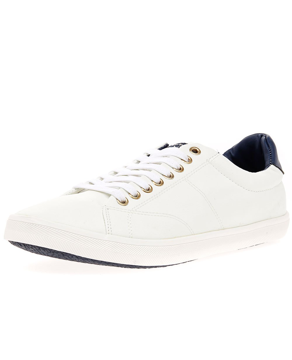 TS Heritage Mens Trainers White Bradley PU Lace To Toe