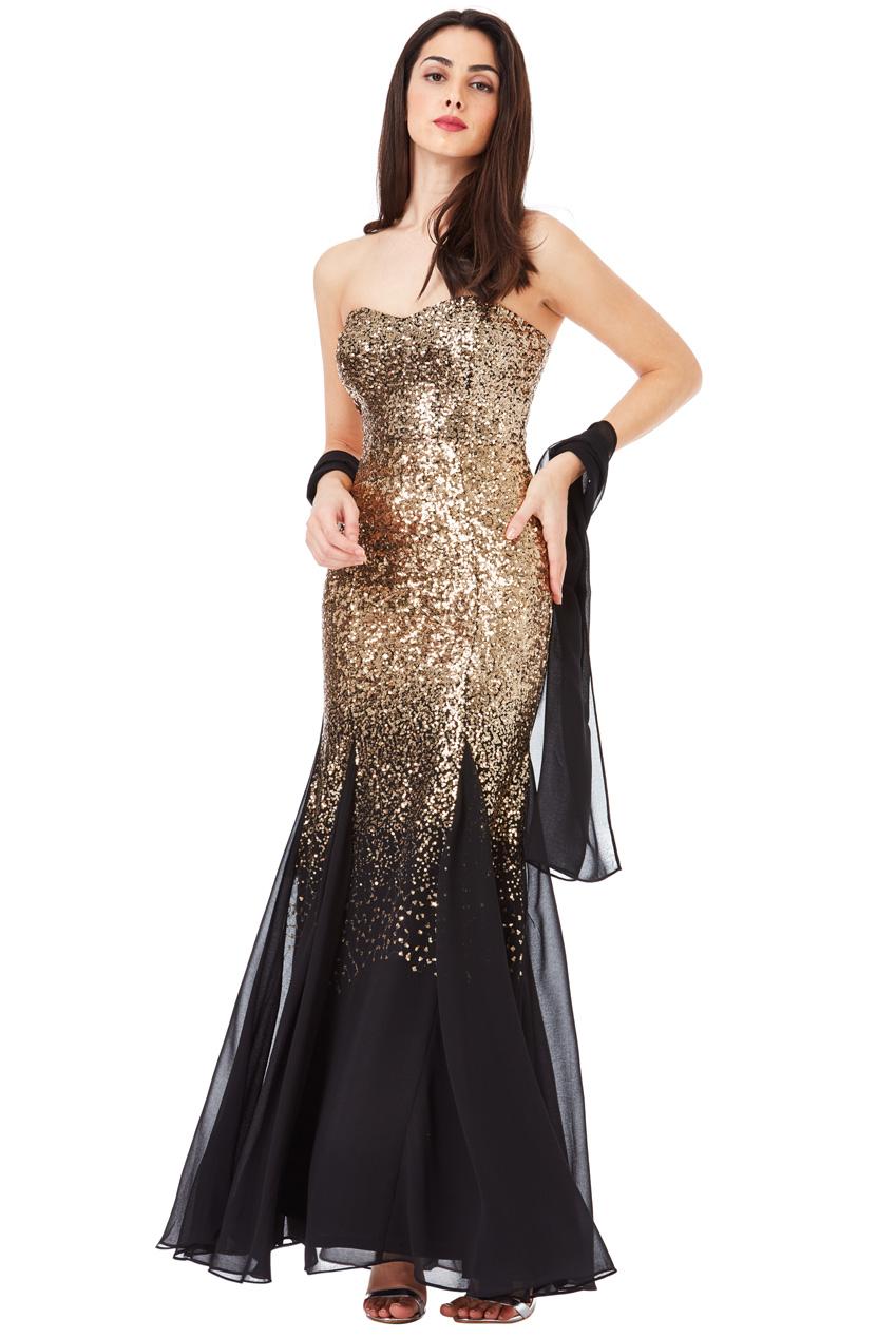 Goddiva Womens Black & Gold Bridesmaids Maxi Dress, Sequin