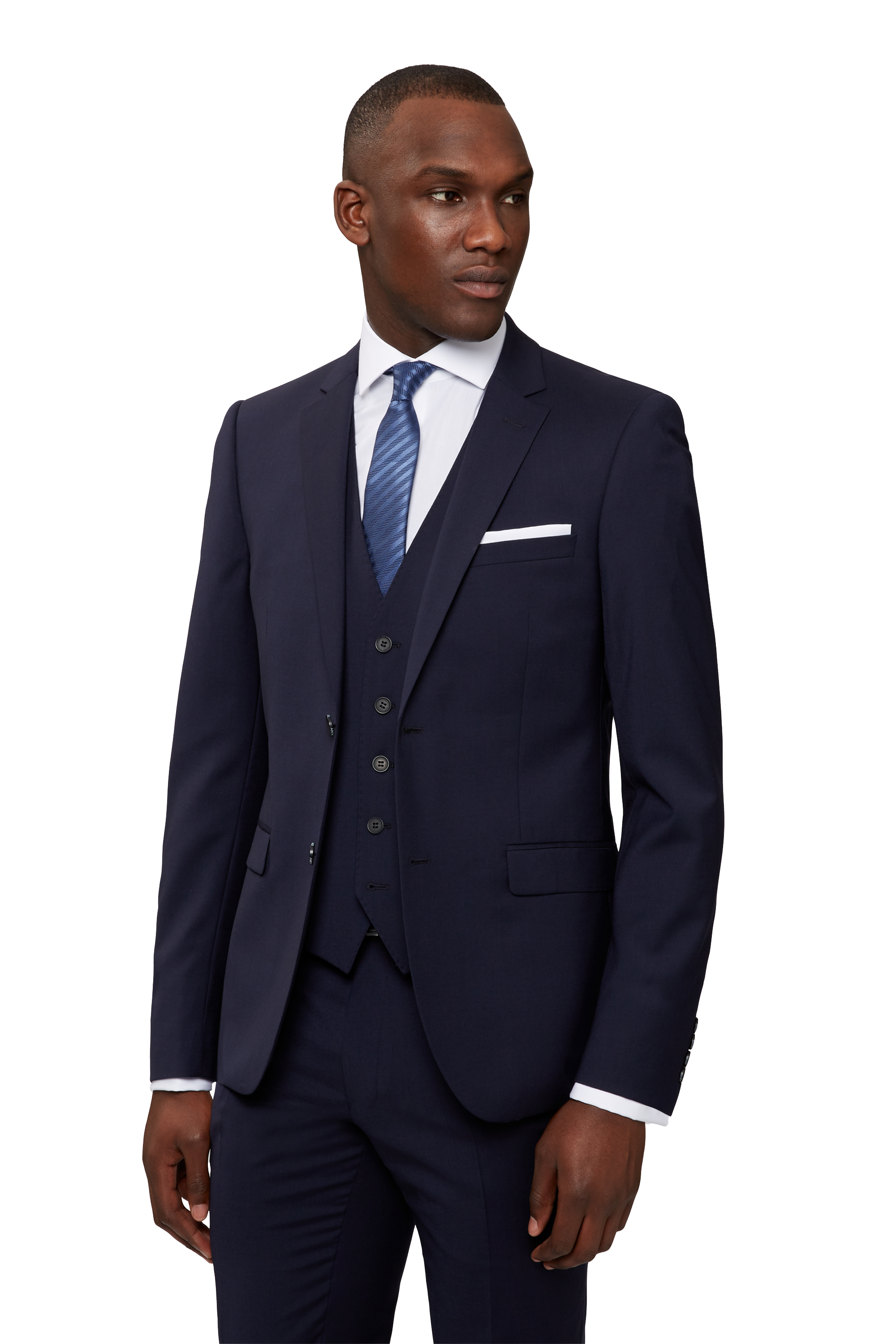 DKNY Mens Navy Blue Suit Jacket Slim Fit Two Button Wool