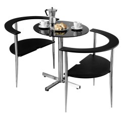 2 Chair Kitchen Table Set Premium Sinks 3pc Round Love Dining Black Tempered Glass Top Chairs Home Furniture