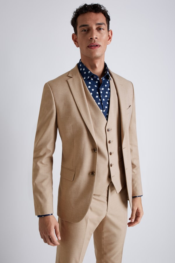 Moss London Mens Suit Jacket Skinny Fit Cappuccino Single Breasted Mix & Match