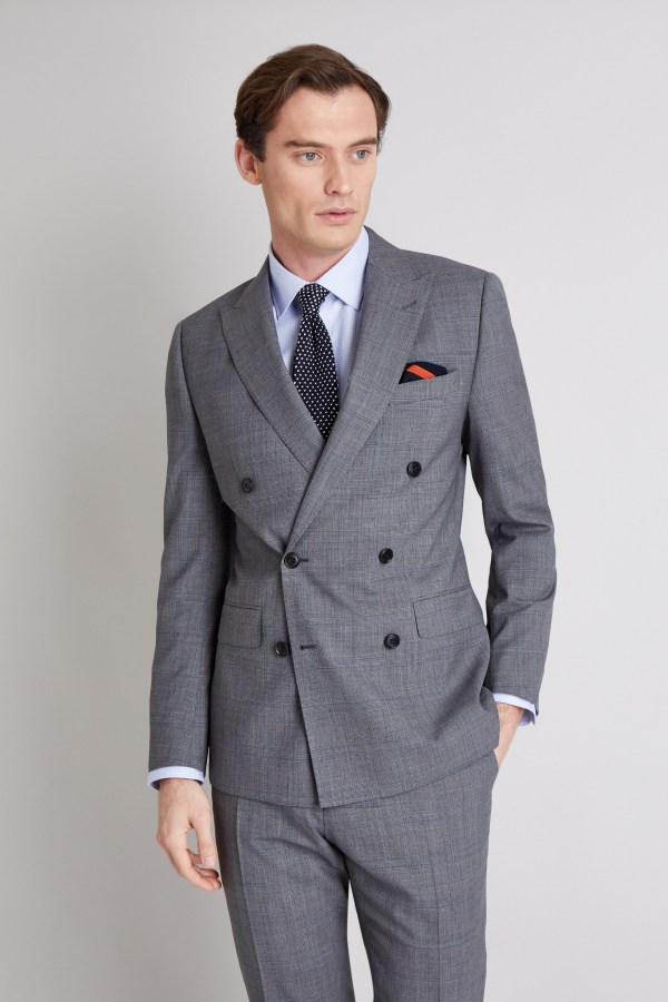 Moss 1851 Mens Grey Blue Check Suit Jacket Tailored Fit Double Breasted Blazer