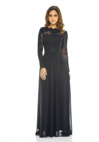 AX Paris Womens Black Chiffon Maxi Dress, Lace & Mesh Top