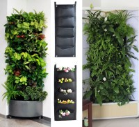 5 Pocket Hanging Garden Planting Bag, Black, Wall Vertical ...