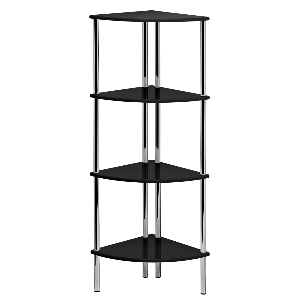 Details About Corner Shelf Unit 4 Tier Black High Gloss Chrome Finish Storage Organizer Rack