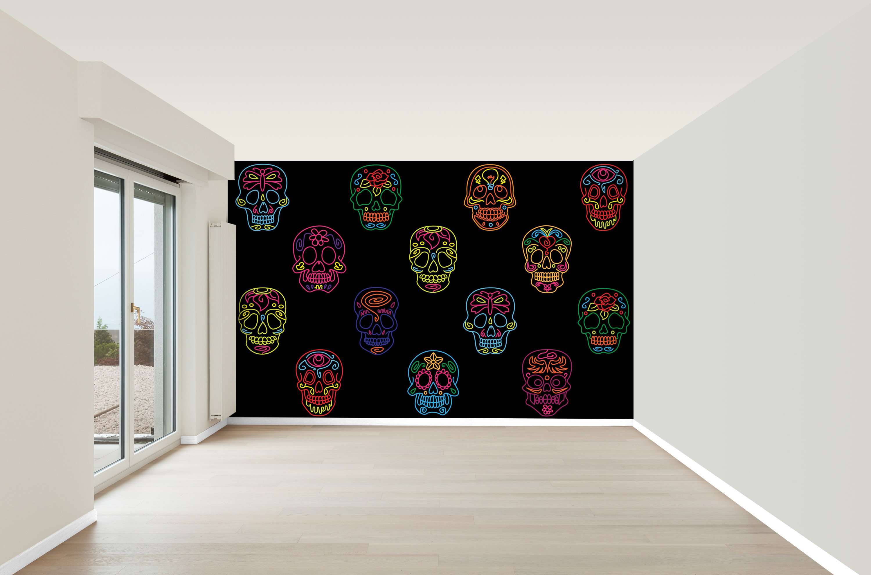 funky living room wallpaper images of interior design small sugar skulls mural photo rock n roll home decor