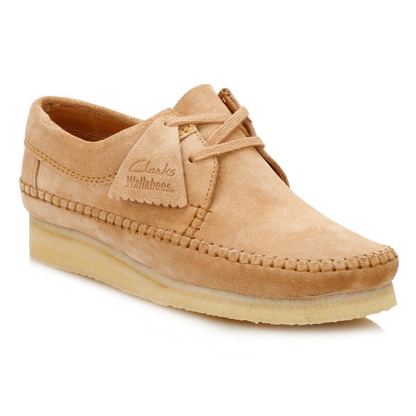 Clarks Womens Wallabees Blue Brown Suede Weaver