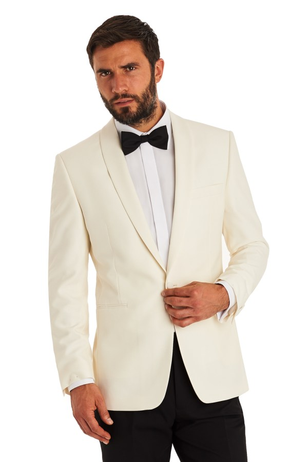 Moss Esq. Mens White Suit Jacket Regular Fit Single Breasted Tuxedo Blazer